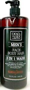 Dead-Sea-Collection-MEN-039-S-VISO-CORPO-CAPELLI-3-in-1-lavaggio-Legno-di-Sandalo
