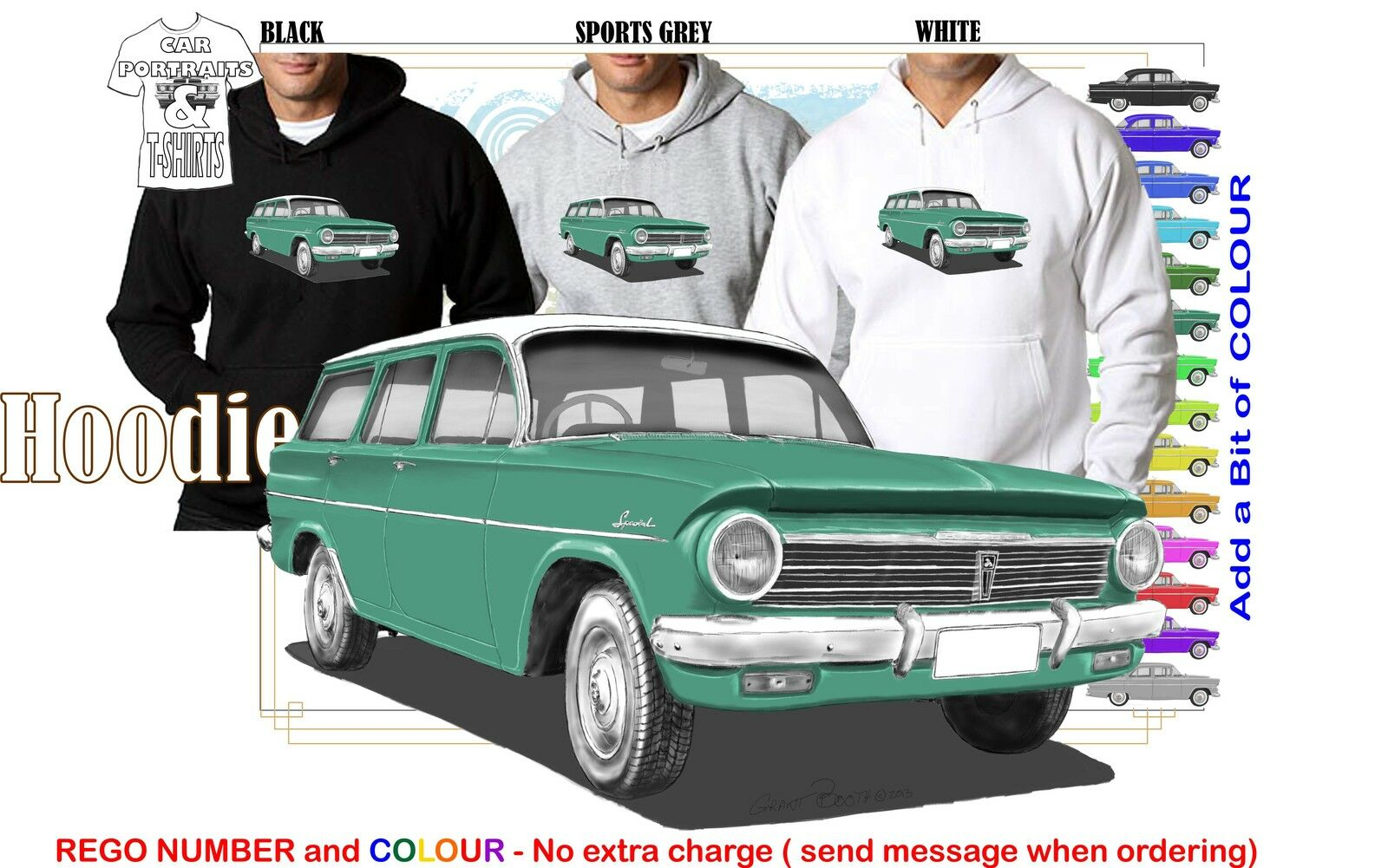 63-65 EH HOLDEN WAGON HOODIE ILLUSTRATED CLASSIC RETRO MUSCLE SPORTS CAR