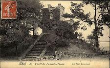 Forêt de Fontainebleau France 1909 La Tour Bennecourt Turm Tower Castle gelaufen
