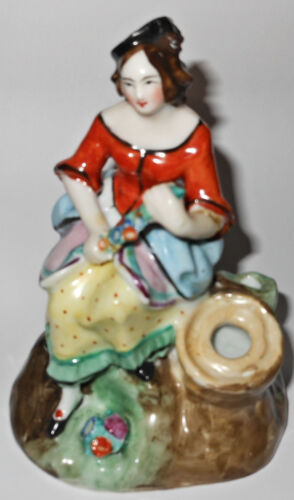 Vintage Staffordshire Hand Painted Lady Figurine, Flower Garland, Match Holder