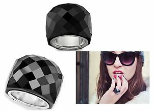 30ef385282e2a7 NIB  199 Swarovski Large Nirvana Ring Jet Black Size 52 US 6 S ...