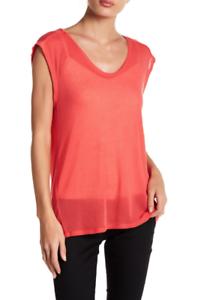 IRO Coral Rosa Dytas Cap Sleeve Scoop Tee 10273 Größe Medium