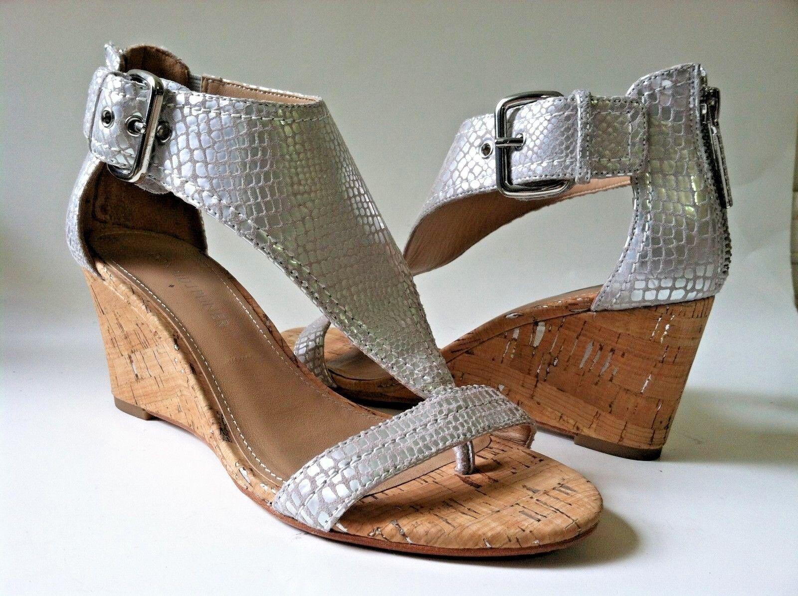 Donald Pliner femmes chaussures argent high heel cork wedge animal print ankle strap 6M