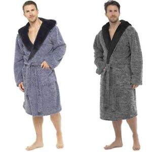 348e3db47e Mens Luxury Shaggy Two Tone Fleece Hooded Dressing Gown Bathrobe M ...