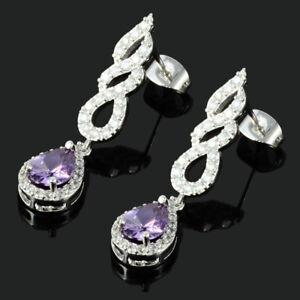 Rhinestone-18K-White-Gold-Plated-Zirconia-Pear-Purple-Amethyst-Drop-Earrings