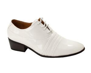 2047d94f361 MENS WHITE PATENT SMART ITALIAN DRESS CUBAN HEEL GENTS SHOES FORMAL ...