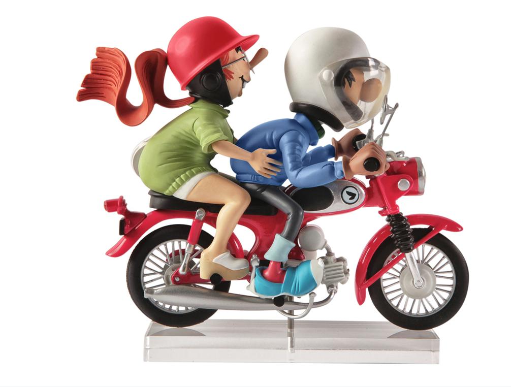 Gaston und Miss Jeanne in Motorrad die Garage von Franquin Creation