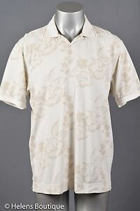 Tommy-Bahama-Relax-men-s-top-size-L-khaki-tan-flowers-polo-cotton-casual-fishing