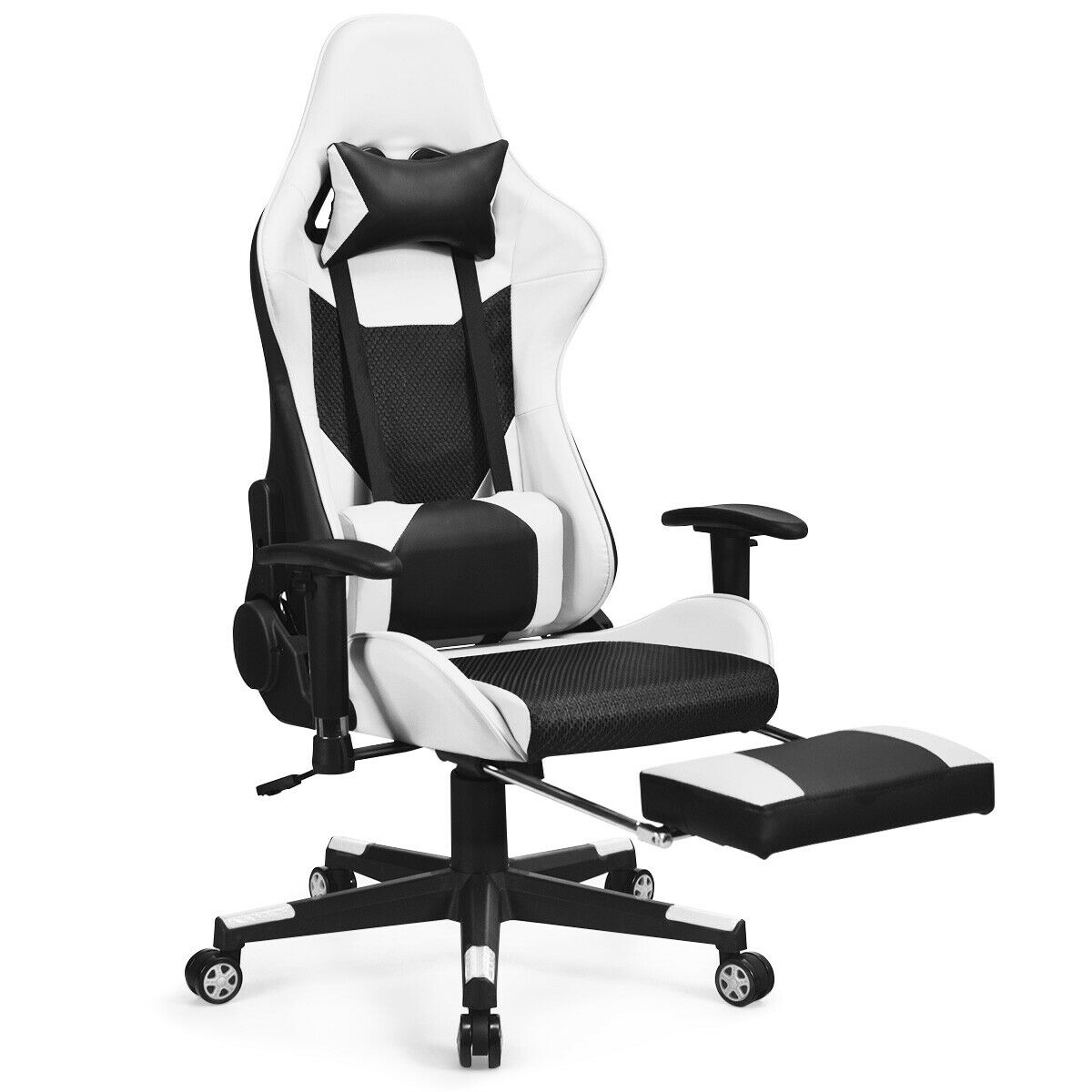 High Back Massage Seat Gaming Chair Recliner Home& Office Footrest White