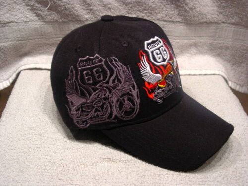 ROUTE 66 AND MOTORCYCLE BASEBALL CAP HAT BLACK