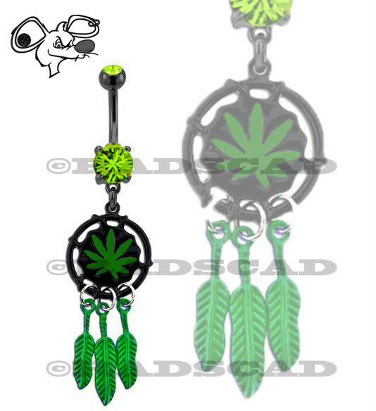DREAM CATCHER POT MARIJUANA LEAF NAVEL RING BELLY BAR WEED DANGLE PIERCING B38