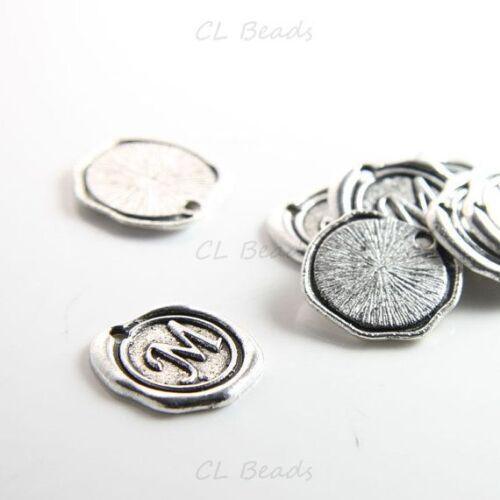 12pcs Oxidized Silver Base Metal Charms-Wax Seal-Letter 15706Y-J-211 M-19mm