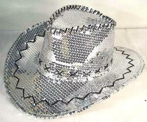 Image is loading SEQUIN-SILVER-COWBOY-HAT-party-supply-western-hats- 84b3f2cef11