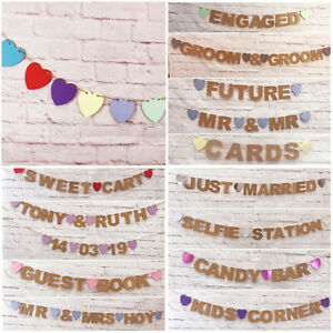 Wedding-Bunting-Banners-Card-Photo-Prop-Wedding-Decoration-PERSONALISED-Mr-amp-Mrs