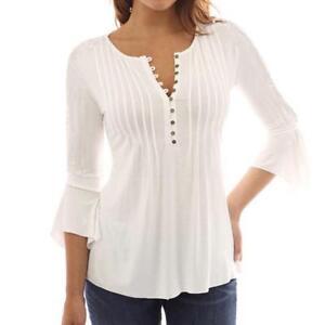 Korean Women Blouse Shirt Three Quarter Sleeve Buttons V-Neck Elegant Ruffle Top