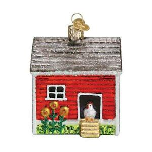 034-Chicken-Coop-034-16128-X-Old-World-Christmas-Glass-Ornament-w-OWC-Box