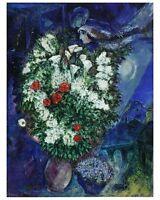 Marc Chagall Blumenstrauss Poster Kunstdruck Bild 60x48cm