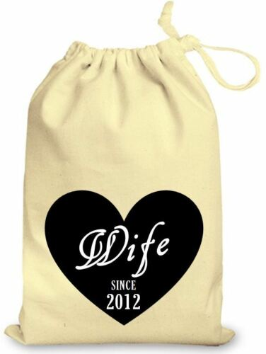 Personalised wedding favour cotton gift bag Black Love Heart Wife Anniversary