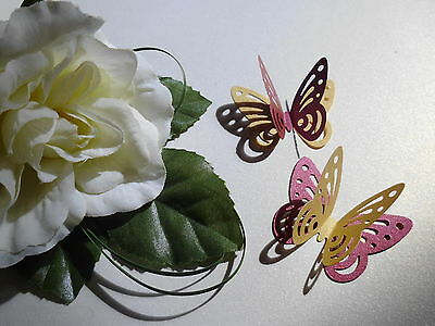 """20 3d 2TONE PEARLESCENT SHIMMER 2 INCH """" BUTTERFLY WEDDING TABLE CONFETTI TOPPER"""