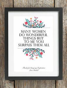 Details about Personalised Happy Mothers Day Message Phrase Print Bespoke  Mum Nan Grandma Gift