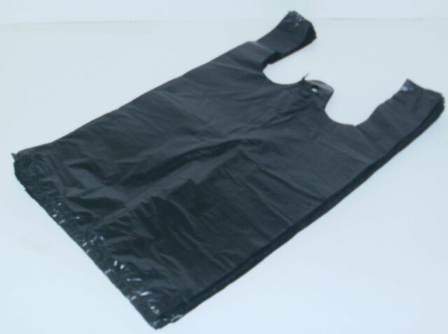 100 Black Bags Medium Size Plastic Grocery Merchandise Shopping New