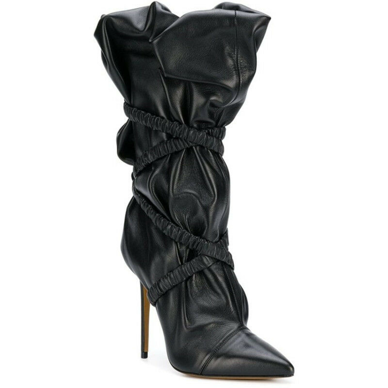 Womens Punk Slouch Boots High Heels Mid Calf Booties Pointed Toe Stiletto shoes