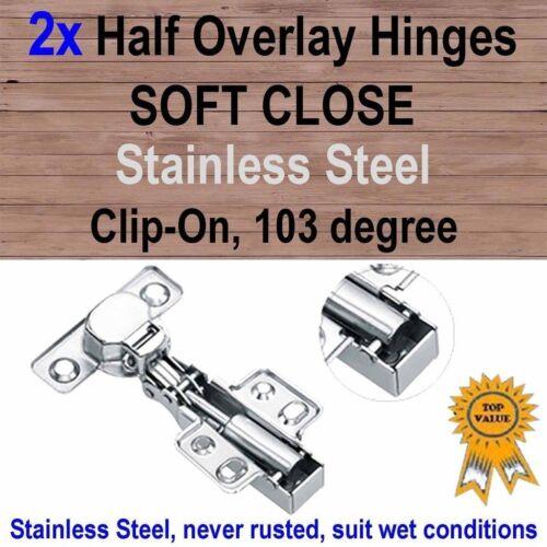 2x Door Kitchen Cabinet Cupboard Soft Close Half Overlay Hinges Stainless Steel