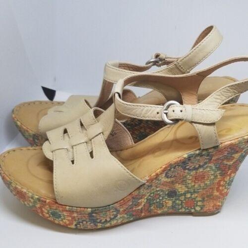 Born Rebecka natural wedge sandals 9/40.5