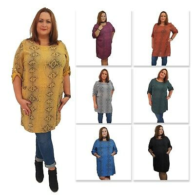 Wolfairy Women/'s Lagenlook Tunic Top Kaftan Italian New Lace Hem Plus Size