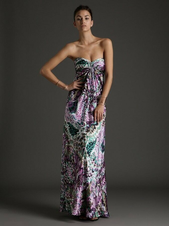 NWT Laundry by Shelli Segal 100% Silk Print Strapless dress gown, US 4