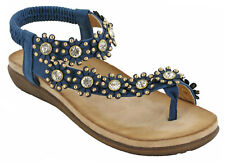 01db37a66da7 Cipriata Slingback Toe Post Womens Halter Elasticated Flower Flat Sandals  UK 3-9