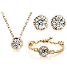 Luxury Jewellery Set Gold & White Diamante Stud Earrings Necklace, Bracelet S414