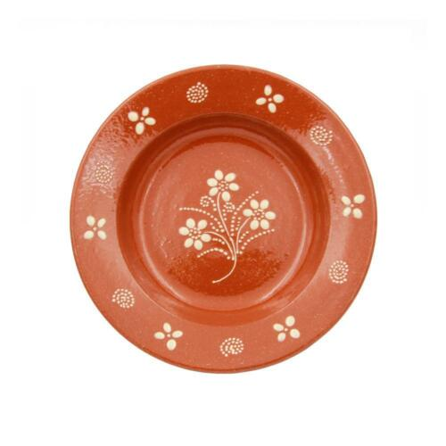 Portuguese Hand-painted Terracotta Soup Plate Set of 4