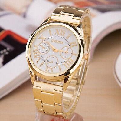 Luxury Geneva Women Lady Gold Stailess Steel Roman Analog Quartz Wrist Watch Hot