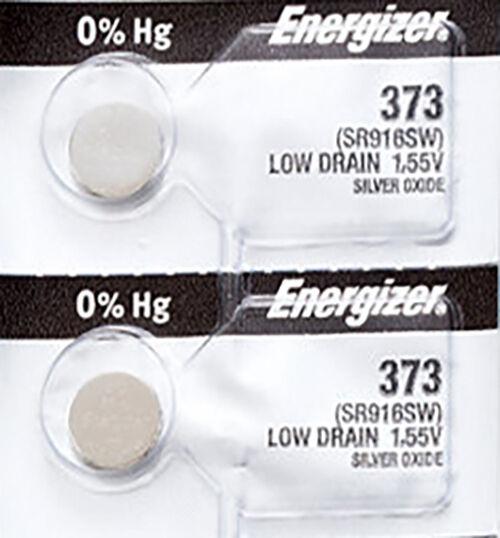 2 x Energizer 373 Watch Batteries, 0% MERCURY equivilate SR916SW