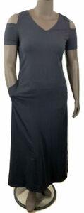 New-51-value-Denim-amp-Co-Size-Small-Black-Shrt-Slv-Cold-Shoulder-V-neck-Maxi-Dress
