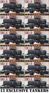 NEW-12-YES-TWELVE-G-SCALE-45mm-GAUGE-BLACK-OIL-TANKER-ROLLING-RAILWAY-TRAIN