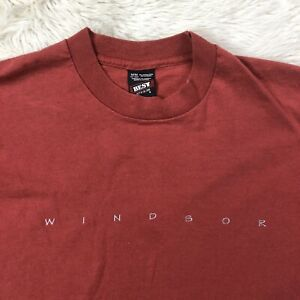 Vtg-Windsor-Shirt-Sz-Medium-Red-Single-Stitch-Short-Sleeve-Tee