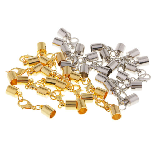 Nickel Free Findings Silver coloured brass cord ends x 50
