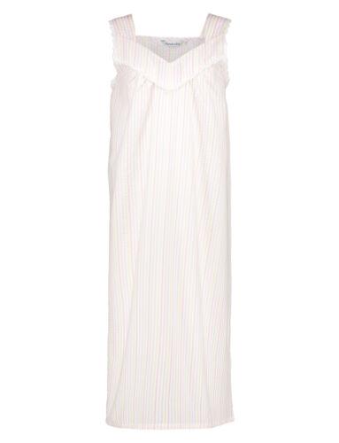 Damen-Nachthemd Slenderella Seersucker Streifen Breit Gurt Nachthemd Spitzenrand