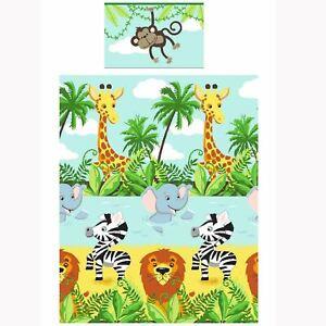 Jungle-Tastique-Enfants-Housse-de-Couette-Junior-Assorti-66-034-x-54-034-Ligne