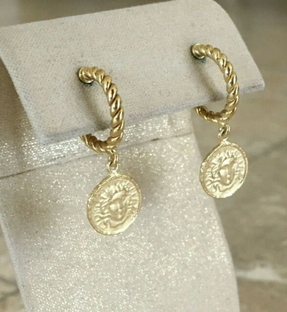 Argento Vivo  Medusa Coin Drop Earrings, 18K Gold Plated Sterling Silver, NWT