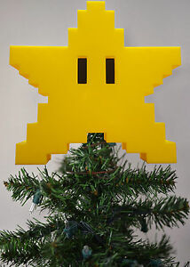 Super-Mario-Star-Tree-Topper-3D-Printed-SNES-N64-Christmas-Ornament-Xmas