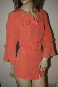 Extravagante Chemisier Mousseline Volant Fleurs Bordure Elegant Abricot M/l-afficher Le Titre D'origine