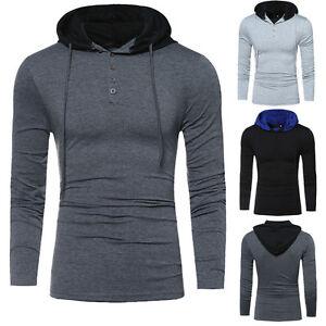 Men-039-s-Slim-manica-lunga-con-cappuccio-Felpe-con-Cappuccio-Maglione-Pullover-T-Shirts-Hood-Tee