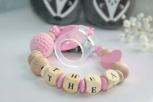 Personalised Baby Dummy Soother Wooden Clip Holder Strap Dum Baby shower gift