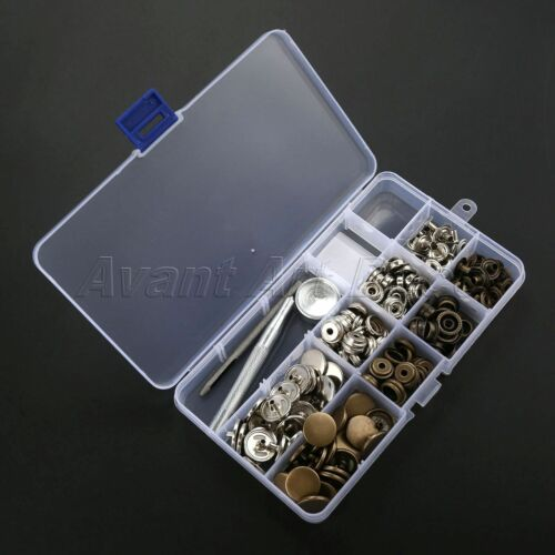 40 Sets 17mm Popper Press Stud Snap Fastener Jeans Buttons Sewing Fixing Tools