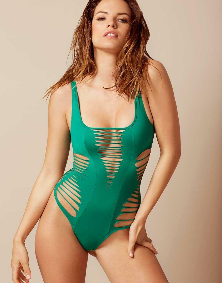 385 NEW Agent Provocateur Dakotta Cutout Swimsuit One Piece Green 3 4 M L RARE