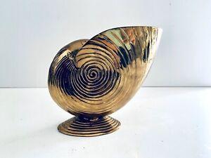 Vintage-Brass-Sea-Shell-Conch-Vase-Sculpture-Nautical-Beach-Decor-Mid-Century