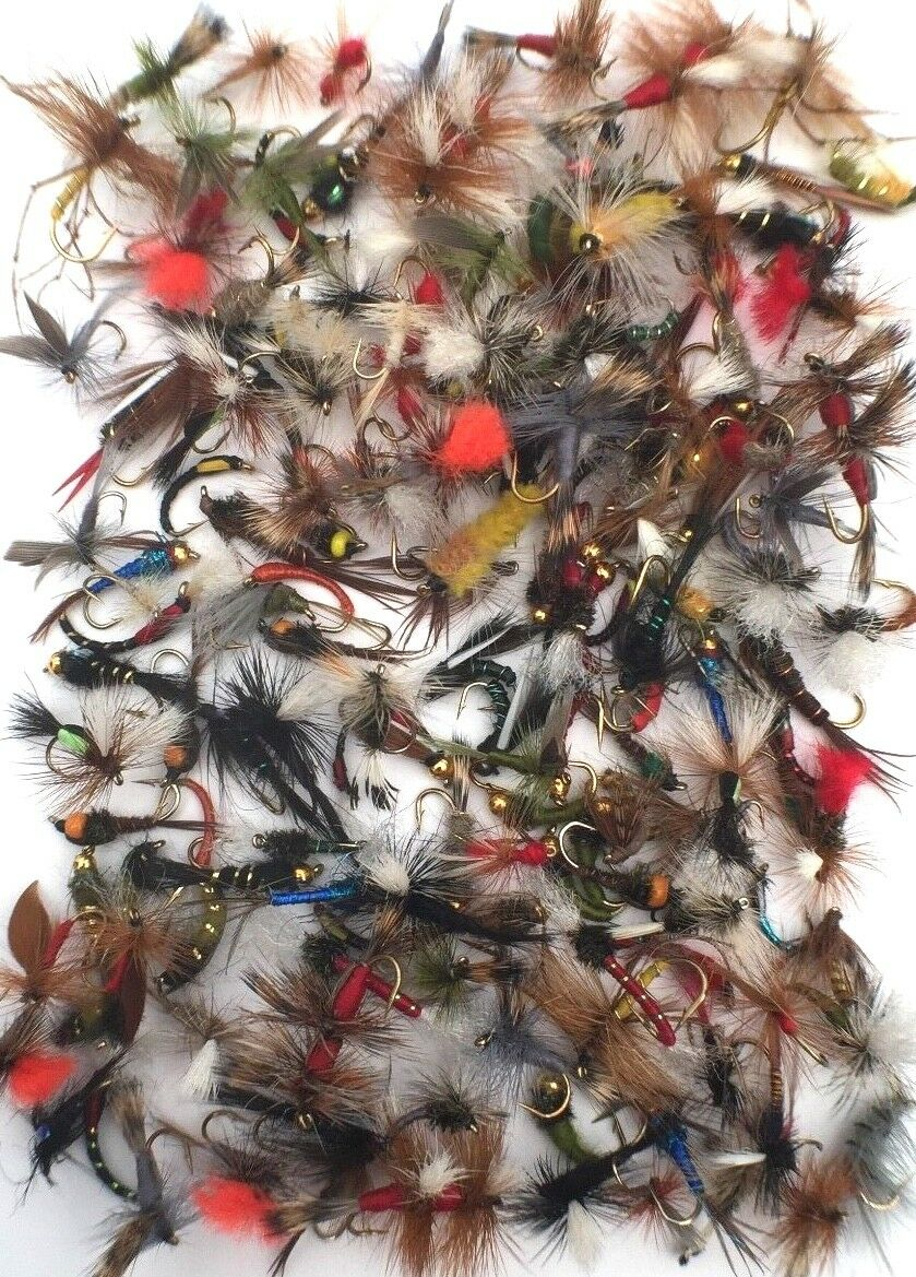 Assortment of Fly Fishing Trout Flies. Wet Dry Nymph Buzzers Qty 10 25 50 75 100